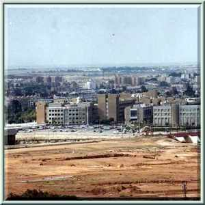 BGU from a distance:  Lots of dirt and dust...then, suddenly, CITY